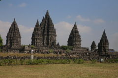 The impressive Prambanan Hindu temple complex Stock Photo