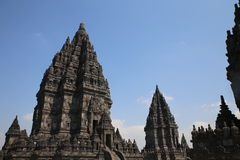 The impressive Prambanan Hindu temple complex Royalty Free Stock Photo