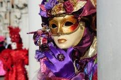 Impressive purple beautiful gold mask stock image