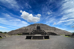 Impressive Pyramid of the Sun in Teotihuacan Royalty Free Stock Image