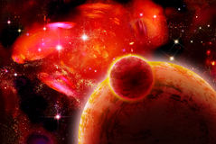 Impressive red space. Planets with sputnik near nebula Stock Photos