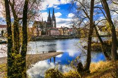 Landmarks of Germany - beautiful Regensburg old town. royalty free stock photography