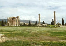 Impressive Remains of The Temple of Olympian Zeus in Athens Stock Photography