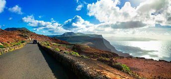Impressive roads with stunning views in Lanzarote island, Canary Royalty Free Stock Photography