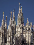 Impressive Rooftop Decorations and Sculptures of The Duomo, Milan Royalty Free Stock Images