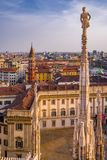 Vertical view from the Duomo di Milano rooftop at sunset. The impressive rooftop view Milan from the Duomo di Milano is even more stunning at sunset Royalty Free Stock Photography