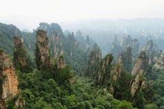 Impressive sandstone pillars in Yangjiajie area royalty free stock images