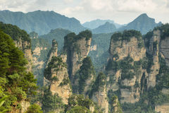 Impressive sandstone pillars in Yuangjiajie area Royalty Free Stock Photography