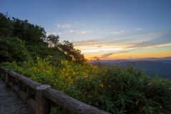 Impressive scenery during sunset from Kiew Lom viewpoint,Pang Mapa districts,Mae Hong Son,Northern Thailand. Kiew Lom viewpoint is on highway 1095 between Pai Royalty Free Stock Images