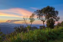 Impressive scenery during sunset from Kiew Lom viewpoint,Pang Mapa districts,Mae Hong Son,Northern Thailand. Kiew Lom viewpoint is on highway 1095 between Pai Stock Photography