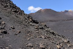 An impressive view of the Etna - the highest active volcano in Europe. Situated in Sicily Royalty Free Stock Photography