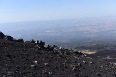 An impressive view of the Etna - the highest active volcano in Europe. Situated in Sicily Royalty Free Stock Photo