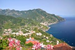 Impressive scenic view of town maiori on amalfi co Stock Photos