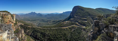 The impressive Serra da Leba pass in Angola. The road gains altitude quickly over several serpentines Royalty Free Stock Images