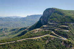 The impressive Serra da Leba pass in Angola. The road gains altitude quickly over several serpentines Royalty Free Stock Photos