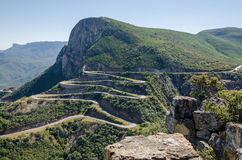 The impressive Serra da Leba pass in Angola. The road gains altitude quickly over several serpentines Royalty Free Stock Photography