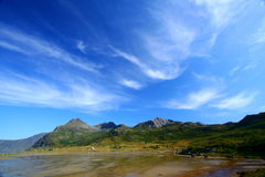 Impressive sky. By a windy day in the lofoten islands Stock Photography