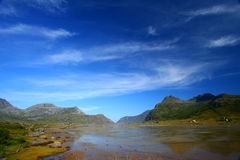Impressive sky. By a windy day in the lofoten islands (norway). Beautiful landscape Royalty Free Stock Photo