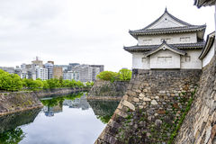 The impressive stone wall of Osaka castle, Japan Royalty Free Stock Photo