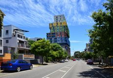 The impressive suburb of Melbourne St.Kilda with Interesting buildings - Color Cubes Royalty Free Stock Photo