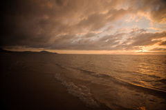 Impressive sunset on calm sea in Thailand Royalty Free Stock Images