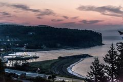 Impressive beautiful sunset over the Bay of Fundy Canada Royalty Free Stock Images
