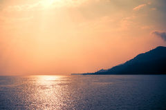 Impressive sunset on the sea in Thailand Stock Image