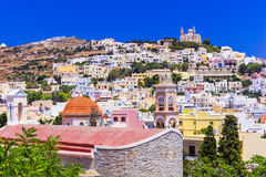 Impressive Syros Island , view of Ano Syros village,Greece. stock images