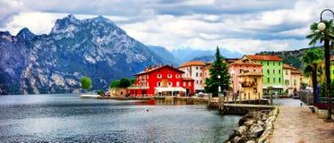 Alpine scenery - beautiful lake Lago di Garda and village Torbol Stock Photography