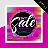 Impressive Vector Sale Layout with Trendy Colorful Elements. Impressive Vector Sale Layout with Trendy Colorful Elements and Calligraphy. Discount Advertising Royalty Free Stock Photography