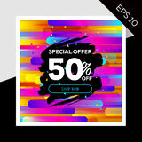 Impressive Vector Sale Layout with Trendy Colorful Elements.. Impressive Vector Sale Layout with Trendy Colorful Elements and Watercolor Splash. Discount Royalty Free Stock Photos