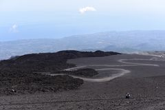 An impressive view of the Etna - the highest active volcano in Europe. Situated in Sicily Stock Photos
