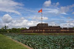 Impressive view on the flag tower in the Citadel of Hue Imperial City, Central Vietnam, Asia. Stock Photos