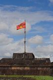 Impressive view on the flag tower in the Citadel of Hue Imperial City, Central Vietnam Royalty Free Stock Images