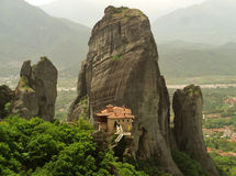 Impressive View of The Holy Monastery of Roussanou, Meteora royalty free stock photos