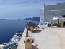 Impressive View of White Colors Architecture with the Blue Sea and sky at Santorini Island Royalty Free Stock Images
