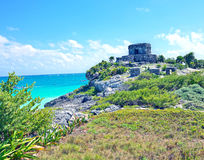 Impressive views of the sea and the Mayan temple Royalty Free Stock Photo