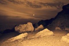 Impressive vintage seaside night landscape Stock Image
