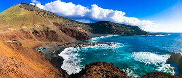 Unique nature of volcanic beautiful Lanzarote . Canary islands Royalty Free Stock Images