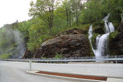 An impressive waterfall Svandalsfossen, which has a total fall of 180 m Royalty Free Stock Photo