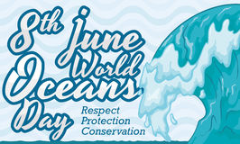 Impressive Wave Design for World Oceans Day Celebration, Vector Illustration Royalty Free Stock Photo
