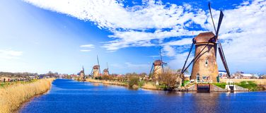 Travel in Netherlands . traditional Holland - Windmills in Kinde Stock Photo