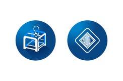 impressora 3D e ícone da impressão 3d no fundo azul vetor do símbolo foto de stock