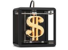 a impressora 3D imprime um sinal de dólar do ouro Fotografia de Stock Royalty Free