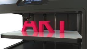 Impressora 3D moderna na ação Imprimindo a palavra volumétrico da ARTE vermelha video estoque