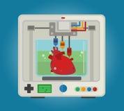 impressora 3D para imprimir modelos tridimensionais para os órgãos internos Transplantação de coração Imagens de Stock