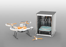 impressora 3D que imprime partes do zangão Foto de Stock Royalty Free
