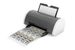 Impressora home Printed Money do Desktop rendição 3d Fotografia de Stock Royalty Free