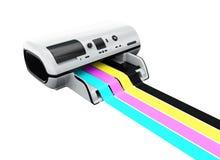 Impressora Inkjet com linhas impressas de CMYK Imagens de Stock