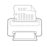 A impressora ou o ícone da impressão do grupo pontilharam o esboço Foto de Stock Royalty Free